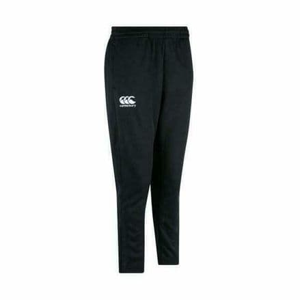 CANTERBURY RUGBY BLACK STRETCH TAPERED POLY KNIT PANTS - KIDS TROUSERS